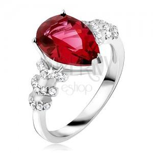 Prsteň zo striebra 925 - červený slzičkový kameň, číre zirkónové šípky