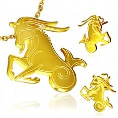 Zlatý set z ocele, prívesok a náušnice, znamenie Kozorožec