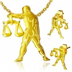 Zlatý set z ocele - náušnice a prívesok, znamenie Váhy