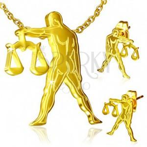 Set z ocele zlatej farby - náušnice a prívesok, znamenie Váhy