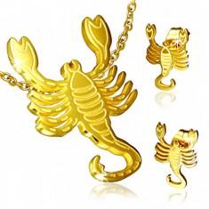 Set z ocele zlatej farby, puzetové náušnice a prívesok, Škorpión