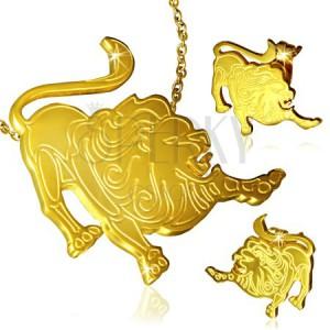 Sada z chirurgickej ocele zlatej farby - prívesok a náušnice, Lev