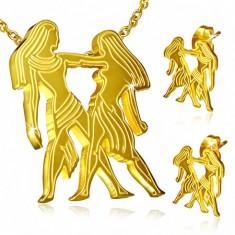 Oceľový set zlatej farby, náušnice a prívesok, znamenie Blíženci