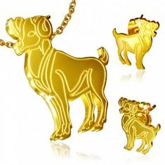 Set z ocele zlatej farby, puzetové náušnice a prívesok, Baran
