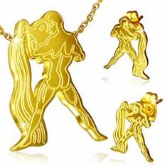 Zlatý oceľový set, puzetové náušnice a prívesok, Vodnár
