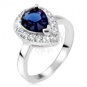 Strieborný prsteň 925, modrý slzičkový kameň so zirkónovým lemom