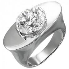 Mohutný oceľový prsteň - ovál so zirkónom