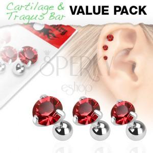 Set z chirurgickej ocele - tri piercingy do ucha, červený zirkón