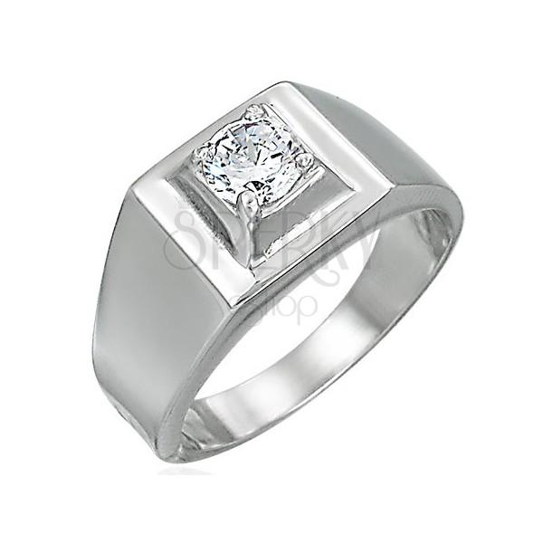 Prsteň z ocele - vystupujúci štvorcový zirkón