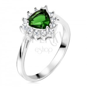 Prsteň - striebro 925, trojuholníkový zelený kamienok, číre zirkóny