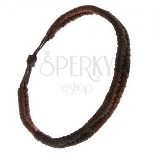 Náramok zo šnúrok, pásy čiernej a čokoládovej farby, vzor rybí chvost