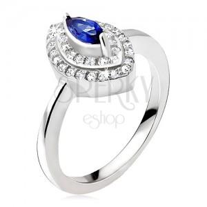 Strieborný prsteň 925, modrý zrnkový kamienok, zirkónová elipsa