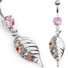Piercing do brucha z ocele, ružový kamienok, farebný zirkónový list