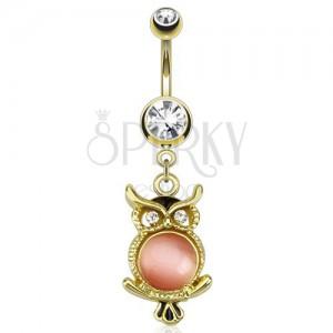 Oceľový piercing do pupka v zlatej farbe, sova s ružovým kamienkom