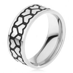 Oceľový prsteň, dve hrubšie línie kontúr súmerných sŕdc