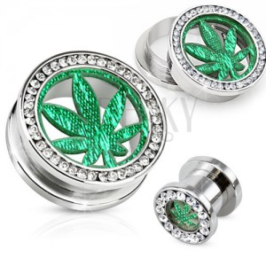 Oceľový tunel plug do ucha, číry zirkónový kruh, list marihuany