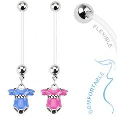 Piercing do bruška z bioflexu pre tehotné ženy, farebné detské body