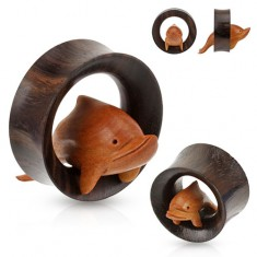 Hnedý drevený tunel do ucha, delfín skáčuci cez obruč