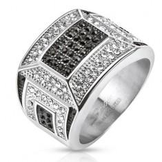 Masívny oceľový prsteň, čierno-biela zirkónová mozaika