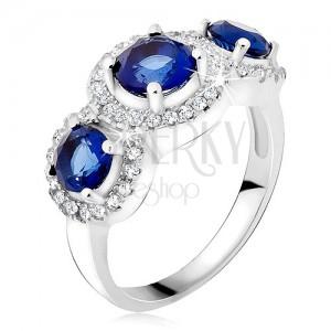 Prsteň zo striebra 925, zirkónové kruhy, tri modré kamienky