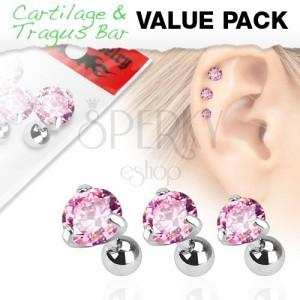 Sada z chirurgickej ocele, tri piercingy s ružovým zirkónom