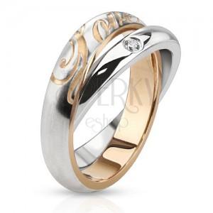 Dvojitý oceľový prsteň - obrúčky striebornej farby, zirkón, nápis Love