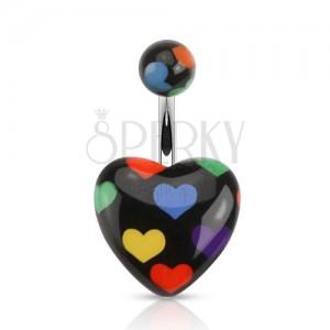 Oceľový piercing do bruška, čierne srdce s farebnými srdiečkami