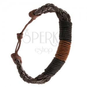 Náramok - tri čokoládové pletence ovité hnedou a čiernymi šnúrkami