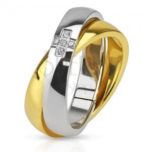 Dvojitý oceľový prsteň, obrúčka zlatej a striebornej farby, zirkónový kríž