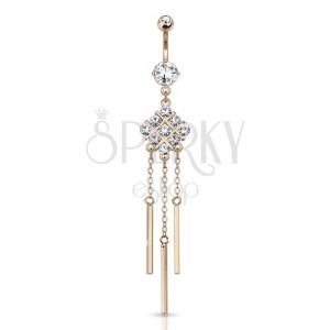 Oceľový piercing do brucha zlatej farby, mriežka, kamienky, retiazky, paličky