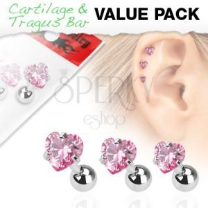 Sada troch oceľových piercingov do ucha, ružový srdiečkový zirkón