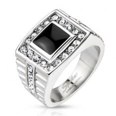 Mohutný prsteň z ocele, ónyxový štvorec so zirkónovým lemom