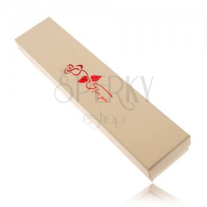 Darčeková krabička na retiazku krémovej farby, červená ruža, for you