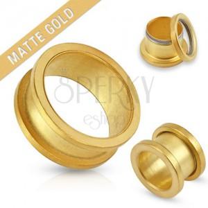 Matný tunel zlatej farby do ucha z chirurgickej ocele