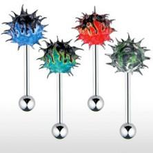 Piercing do jazyka so silikónovým farebným ježkom ohnivý vzor