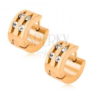 Oceľové náušnice zlatej farby, dva žliabky so vsadenými kamienkami