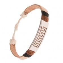 Náramok - béžový pás kože, oceľová známka s gréckym kľúčom
