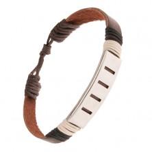 Čokoládovohnedý náramok z kože, známka s pozdĺžnymi výrezmi