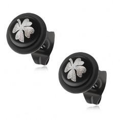 Oceľové puzetové náušnice - čierna gulička s gumičkou, sivý štvorlístok