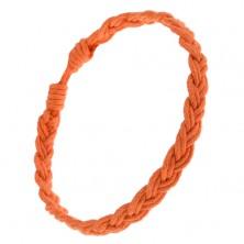 Šnúrkový náramok oranžovej farby, vrkočovo zapletaný