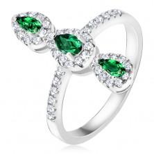 Prsteň zo striebra 925, tri zelené slzičkové kamienky, zirkónový lem