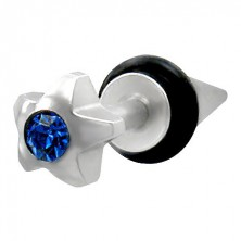 Falošný piercing hviezdica s modrým zirkónom