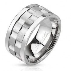 Oceľový prsteň - dve matné točiace sa obruče so žliabkami