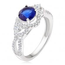 Strieborný prsteň, tmavomodrý kameň, oblé zirkónové línie
