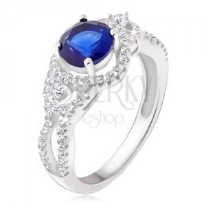 Strieborný prsteň 925, tmavomodrý kameň, oblé zirkónové línie