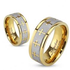 Prsteň z ocele zlatej farby, strieborný saténový pás, jetelové kríže