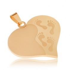 Zlatý prívesok z ocele, súmerné srdce, gravírované odtlačky nôh