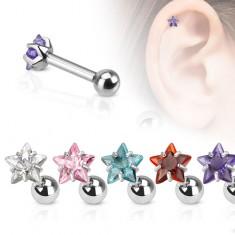 Oceľový piercing do ucha, farebná zirkónová hviezda
