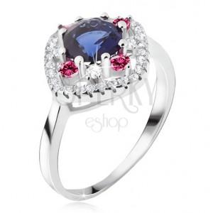 Prsteň zo striebra 925, modrý okrúhly zirkón, číre a ružové kamienky