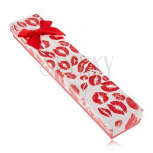 Darčeková krabička na náramok, odtlačky pier, červená mašľa